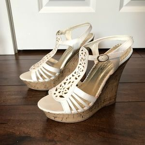 White wedges with gold detailing